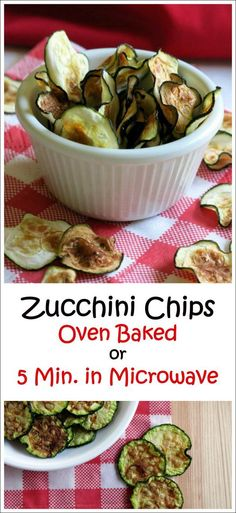 Zucchini Chips cook quickly in the Microwave or can be baked in the Oven. Tips for the perfectly crisped chip by @DinnerMom
