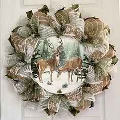Diy Wreath, Burlap Wreath, Summer Deco, Holiday Wreaths, Winter Wreaths, Deco Mesh Wreaths, Deer, Greenery, Hanukkah