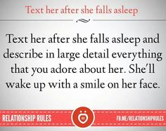 Text her after she falls asleep