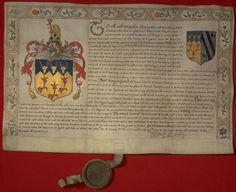 Letter patent of the coat of arms of the Stanley family.