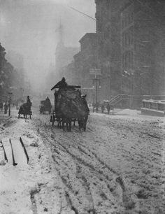 Winter, 5th Avenue. 1892. Alfred Stieglitz, photographer. (Stieglitz stated that he stood for nearly five hours in the snow, growing colder and colder, waiting for this, that perfect moment. One of the first art photographers, Stieglitz is renowned for his images of late 19th/early 20th century New York City.)