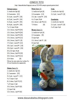 My eye has been drawn to crochet bunny patterns over and over lately- probably because it is starting to show signs of spring! Amigurumi Kawaii Bunny - FREE Crochet Pattern / Tutorial in Spanish - Salvabrani Ravelry: Jenny the Bunny, free Discover thousan Crochet Bunny Pattern, Easter Crochet Patterns, Crochet Amigurumi Free Patterns, Crochet Brooch, Crochet Buttons, Diy Crafts Crochet, Diy And Crafts Sewing, Crochet Stitch, Filet Crochet