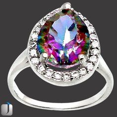 3.84cts ELITE RAINBOW TOPAZ PEAR 925 STERLING SILVER RING JEWELRY size 7 T4245