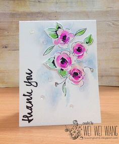 Thank you - watercolored flower card