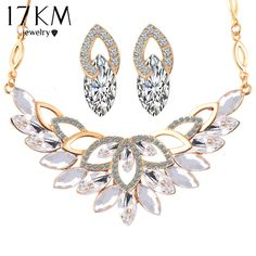 Wedding Gold 3 Color Crystal Flower Necklace African Beads Bridal Earrings Jewelry Sets for Women //Price: $9.49 & FREE Shipping //     #gold #luxury #jewels