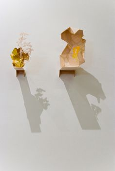 Amy Joy Watson, Untitled, 2009, balsa wood, watercolour, polyester thread, 30 x 75 x 15cm