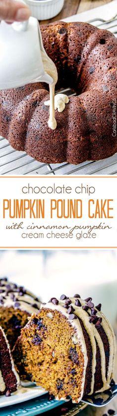 Moist rich Chocolate Chip Pumpkin Cake infused with chocolate. Moist rich Chocolate Chip Pumpkin Cake infused with chocolate and bathed in in Cinnamon Pumpkin Cream Cheese Glaze is SO good! Köstliche Desserts, Delicious Desserts, Dessert Recipes, Snacks Recipes, Oreo Dessert, Pumpkin Dessert, Pumpkin Pound Cake, Pumpkin Cakes, Pumpkin Cream Cheeses