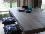 Eettafels - salontafel van steigerhout met stalen onderstel - Een uniek product van purewooddesign op DaWanda