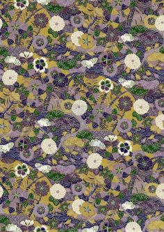 Purple and Green Flowers Japanese Yuzen Chiyogami Washi Paper Sheet 23 x 15 cm (9 x 6 inches)
