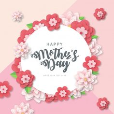 Modern mother's day banner with papercut flowers Free Vector An impressive font of Mother day, flowers in nice colors, Mother's Day Banner, Web Banner, Banners, Motivation Poster, Cherry Blossom Background, Mothers Day Gif, Christmas Bags, Festival Posters, Mothers Day Crafts