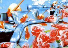 Pościel 3D - kwiaty w sypialni błękit i czerwień