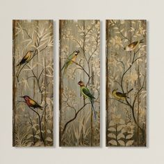 IMAX Calima Bird Wall Decor [Set of - 42 in. -Wooden Planks with Floral Print Design. Wall Decor Set, Wall Art Sets, Room Decor, Painting Frames, Painting Prints, Art Prints, Bird Wall Art, Wall Décor, Wall Tiles