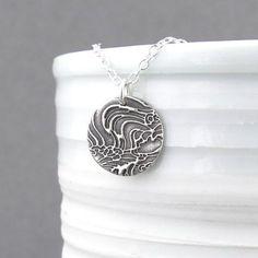Ocean Necklace Tiny Silver Necklace Pendant by JenniferCasady