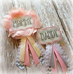 Pink & Grey Chevron Baby Shower Badge for Mommy & Daddy