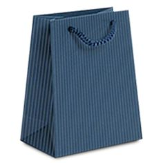 Noble Gift Packaging's laminated embossed paper bags come in an attractive blue matt finish. The handles are made of rope and bottom of bag is reinforce with a piece of cardboard.  We are carrying 5 sizes.  Imprint your logo! We offer beautiful custom hot stamp printing.