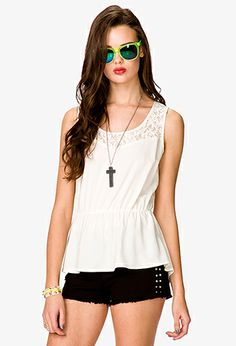 Lace Paneled Top   FOREVER21 - 2038856934