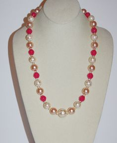 Joan Rivers Necklace Pink and Pearlized Beads by SCLadyDiJewelry