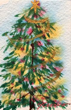By Jeanette Crooks Watercolor Christmas Art, Christmas Tree, Painting, Teal Christmas Tree, Painting Art, Xmas Trees, Paintings, Christmas Trees, Painted Canvas