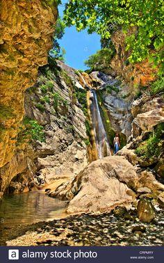 "Stock Photo - The largest among the waterfalls in Dimosari gorge, close to Nydri town, Lefkada (or ""Lefkas"") island, Ionian Sea, Greece Island Cruises, Mediterranean Sea, Greek Islands, Travel Destinations, Greece, Waterfall, Scenery, Stock Photos, Explore"