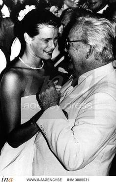 Monaco Red Cross Ball, August 1982. Prince Rainier dancing with his daughter Princess Stephanie.