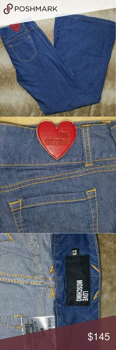 Love Moschino Bell Bottom Jeans Denim wide leg Love Moschino pants. Super chic, stylish, and versatile.   Size 29  Condition: Excellent condition Love Moschino Jeans Flare & Wide Leg