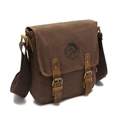 EcoCity Vintage Canvas Genuine Leather Small Messenger Shoulder Bag iPad Bag (Coffee)