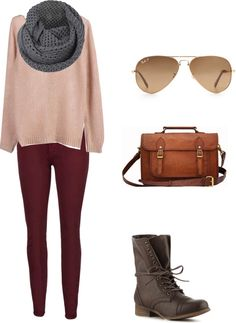 """burgundy pants and combat boots"" by layylaydoll on Polyvore"