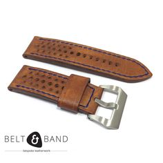 Handmade Leather Watch Strap Rally Tan with Pre-V Buckle for Panerai Watch Straps, Stainless Steel Screws, Handmade Leather, Rally, Belt, Brown, Accessories, Vintage, Belts