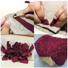 10 easy and inexpensive carpets that you can make yourself- trap-carpet Diy Crafts Hacks, Diy Crafts For Gifts, Diy Home Crafts, Homemade Rugs, Diy Christmas Decorations Easy, Clay Pot Crafts, Sewing Art, Diy Carpet, Diy Design