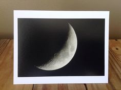 Moon Greeting Card  5x6.5 Blank  Crescent Moon  by AnnieSalasin