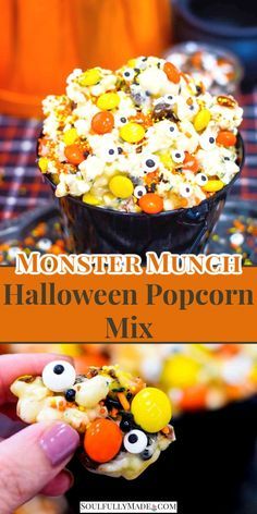 Monster Munch Halloween Popcorn is a perfect sweet treat for your spooky occasion. It's popcorn tossed in gooey white chocolate. Then mix in festive M&M's, candy eyes, and top with your favorite Halloween sprinkles for something scary delicious. #HalloweenSnack #PopcornMix #MonsterMunch #HalloweenPopcorn