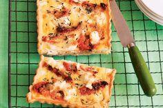 Caramelised onion, sundried tomato and feta tart