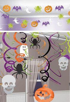 Halloween Mixed Hanging Swirl Decorations X 30 & Garden Decoration Haloween, Deco Haloween, Dulceros Halloween, Moldes Halloween, Bricolage Halloween, Halloween School Treats, Manualidades Halloween, Adornos Halloween, Easy Halloween Decorations