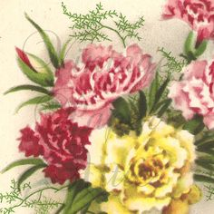 Vintage French Postcard Pink & Yellow by VintagePaperAttic on Etsy, $2.99