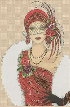 Counted Cross Stitch ART DECO LADY in Red Dress/White Fur COMPLETE KIT No.5vb-39 | eBay
