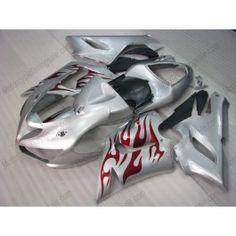 Kawasaki NINJA ZX6R 2005-2006 Injection ABS Fairing - Red Flame - Silver   $639.00