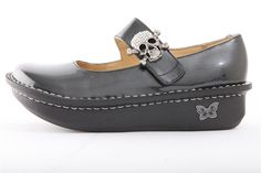 Alegria Paloma Charcoal Patent | Alegria Shoes, LOVE the skull pendant closure!