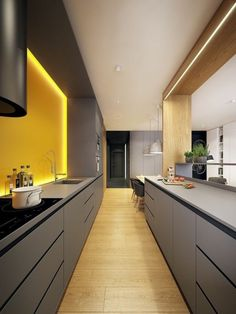 Modern Kitchen Interior A Modern Scandinavian Inspired Apartment With Ingenius Features - Scandinavian style meets ultramodern design in this innovative and artistic apartment interior. Modern Kitchen Lighting, Contemporary Kitchen Cabinets, Modern Kitchen Design, Interior Design Kitchen, Modern Bathroom, Parallel Kitchen Design, Bathroom Lighting, Kitchen Industrial, Bedroom Modern
