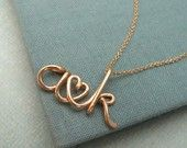 Two Lovers-Rose Gold Personalized Initials Necklace. $70.00, via Etsy.