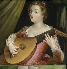 Woman with lute - Ecole de Fontainebleau (French, c. 1530 - c. The Athenaeum Renaissance Music, Renaissance Paintings, Renaissance Portraits, Italian Renaissance, Vermeer Paintings, Art Français, Early Music, Music Images, Playing Guitar