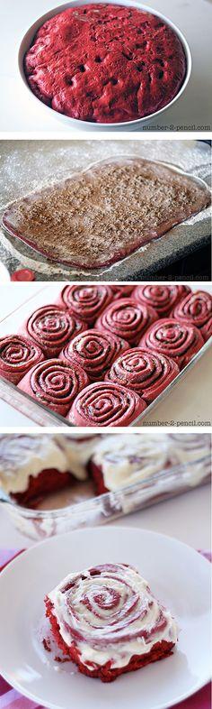 Red Velvet Cinnamon Rolls - these amazing cinnamon rolls start with red velvet cake mix!: