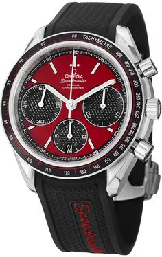 """Omega Speedmaster Racing Automatic Chronograph Red Dial Stainless Steel Mens Watch 32632405011001. - WITH MANUFACTURER SERIAL NUMBERS - Red Dial - Chronograph Feature - Self Winding Automatic Chronometer Column Wheel Movement - Caliber: Omega 3330, Power Reserve: 52 Hours - Certificate of Authenticity - Scratch Resistant Sapphire Crystal - Brushed with Polished Steel Case - Black Rubber Strap - Manufacturer Box & Manual - 100 Meters / 330 Feet Water Resistant - 40mm = 1 1/2"""" Case, 7""""..."""