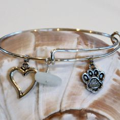 Expandable Alex and Ani type bracelet with Paw Print Charm, Heart and Seaglass by SeaglassI on Etsy https://www.etsy.com/listing/213767591/expandable-alex-and-ani-type-bracelet