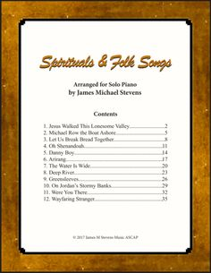Spirituals and Folk Songs (Piano Solos) The Water Is Wide, Row The Boat, Digital Sheet Music, Piano Music, Recital, Instrumental, The Creator, Folk, Spirituality