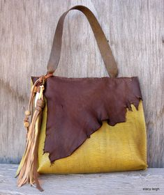 Leather Bag in Lizard Embossed Wheat Color and Chocolate Deerskin by Stacy Leigh