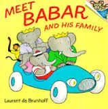 Brunhoff, Meet Babar and his family, elephants, family, community, seasons, weather, winter, spring, summer, fall
