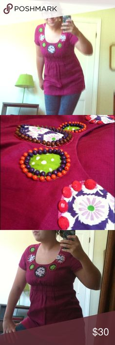 BEADED BOHO BEAUTY This could possibly be the cutest shirt I've ever seen! I love the intricate beading and the bright colors! The fabric feels very durable! Boden Tops Blouses