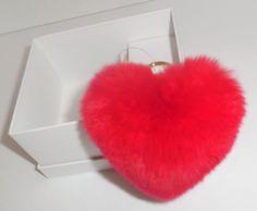 MICHAEL KORS Bright Red Heart Pom Pom Charm Key Ring Chain Fur New 6cc3ec584