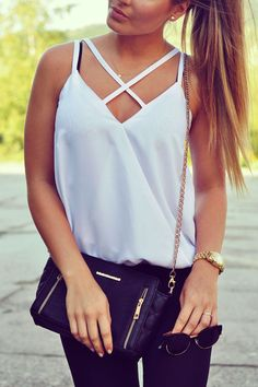 5d5bfd7f37 Straps Cross Pure Color Simple V-neck Tank Top #girlfashion #streetstyle # outfitoftheday