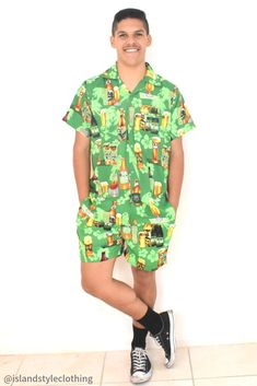Wicked Party Kits - Hawaiian Shirt and Shorts. Beer Range in Green - features Parrots, Flowers & leaves. Bucks Night, Cruise, Cricket, rugby, Spring Break, Halloween. #hawaiianshirt #partykit #springbreak #schoolies #o-week #unishirt #shirtshirtparty #cricket #festivalshirt #festivalclothing #partytux #beershirt #drinkingshirt